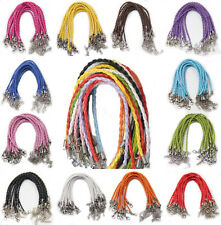 20/100Pcs Faux Leather Cord Braid Rope Lobster Clasp Bracelets Jewelry Finding