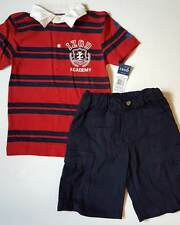 $42 BOYS IZOD POLO STRIPED SHIRT CARGO SHORTS NAVY RED 5 6 7 2PC OUTFIT Cotton