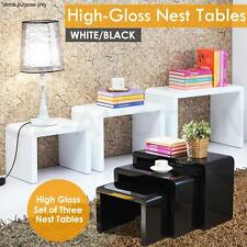Nest of 3 Modern High Gloss Coffee Tables Side Hall Tray Plant Display