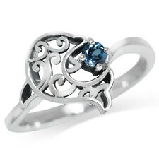 Natural London Blue Topaz 925 Sterling Silver Dolphin Filigree Solitaire Ring