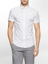 calvin klein mens slim fit crosshatch short sleeve shirt