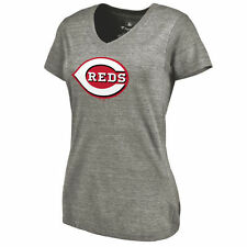 Cincinnati Reds Women's Primary Logo Tri-Blend V-Neck T-Shirt - Ash - MLB