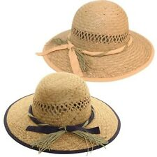 Womens Summer Straw Hat With Ribbon Band Vented Sun Protection