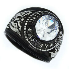 Clear Stone US Army Military Tutone Black Plated Mens Ring
