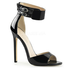 """PLEASER SEXY-19 Women's 5"""" Heel Closed Back Dual Buckled Ankle Strap Sandals"""