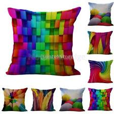 "18"" Cotton Linen Throw Pillow Case Rainbow Cushion Cover Colorful Decor 6 Types"