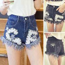 Fashion Womens Casual High Waist Tassel Hole Frayed Denim Jeans Wide Leg Shorts