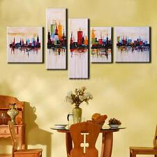 Hand Painted Modern City Picture Oil Painting Set Canvas Art Decor No Frame O5V6