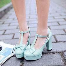 Womens Platform Bnowknot Round Toe T Strappy Chunky Heels Pumps Shoes Size