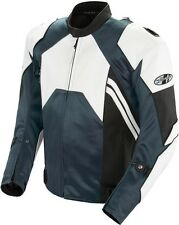 Joe Rocket Radar - Leather Motorcycle Race Jacket - White/Gunmetal