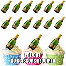 PRE-CUT 80th Birthday Champagne Bottle Edible Cup Cake Toppers Cake Decorations
