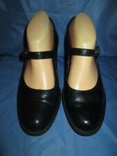 WOMENS BLACK LEATHER BORN MARY JANE HEELS SHOES 39/8