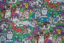 CAT FABRIC - Hoffman International - Whiskers & Paws - Blue eyed Kitties - OOP