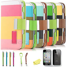For Apple iPhone 4 4S Magnetic Flip PU Leather Pouch Wallet Stand Case Cover