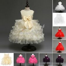 Baby Girls Flower Princess Wedding Birthday Party Pageant Fancy Tulle Gown Dress