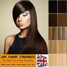 Thick smooth 100g DOUBLE WEFT Clip In Remy Human Hair Extensions Full Head QU817