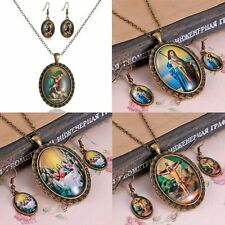 Vintage Bronze Oval Foreign Literary Figures Jesus Necklace Earrings Set Jewelry