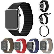 Genuine Leather Magnetic Milanese Loop Watch Band Strap For Apple Watch IWatch