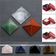 Charm Natural Gemstone Pyramid Stone With Box Home Room Decoration Ornament Gift
