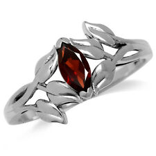 Natural Garnet 925 Sterling Silver Leaf Solitaire Ring