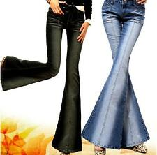 New Women's Denim Bell Bottoms Wide leg Fashion Low-Crotch Pants Trousers  Sz