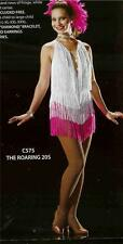 JAZZ DANCE COSTUME PINK AND WHITE FRINGE DRESS TAP SKATE PAGEANT THE ROARIN 20