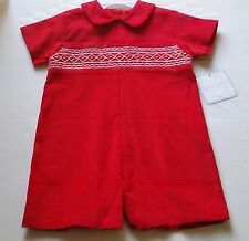 Boy PETIT BEBE boutique romper 3M 6M 9M NWT red Christmas outfit smocked Anavini