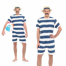 Mens Victorian Bathing Suit Fancy Dress Costume Old Time Swimming Outfit M-XL