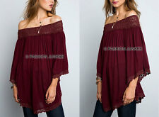 BURGUNDY OFF the Shoulder TUNIC Top Peasant Boho Lace Shirt PLUS SIZE XL 1X 2X