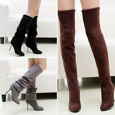 New Womens Over The Knee Boots Stretch Knee High Boots Stiletto High heels Shoes