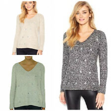 Kensie Embellished Rhinestone Vneck Cable Knit Sweater XS M L NWT $99