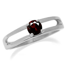 Natural Red Garnet 925 Sterling Silver Modern Solitaire Ring