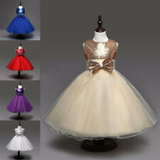 Flower Girls Kids Princess Party Pageant Wedding Tulle Dress Ball Gown Size 2-12