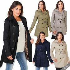 Womens Ladies Stylish Trench Coat Tailored Fit Belted Double Breasted Mac Jacket