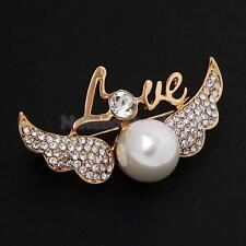 Fashion Love Angell Wing Pearls Design Brooch Pins Costume Jewelry 2 Colors