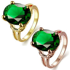 Women Ladies Fashion Green Zircon Rhinestone Gold Plated Copper Ring Size 7/8