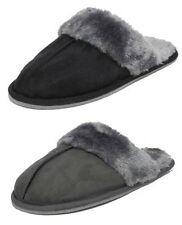 Womens Ladies Cosies Micro Suede Fluffy Fur Mules Slippers BLACK GREY Size 3-8