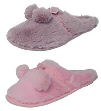 Womens Ladies Cosies Micro Suede Fluffy Fur Mules Slippers Pink Lilac Size 3-8