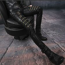 New Mens Pu Leather Buckle Zip Skinny Punk Trousers Slim Fit Gothic Biker Pants