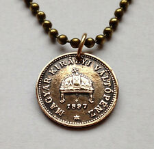 Hungary 1 filler coin pendant Hungarian necklace holy Crown Budapest n000395