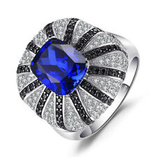 Jewelrypalace 3.9ct Blue Sapphire Natural Black Spinel Cocktail Ring 925 Silver