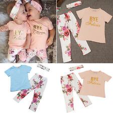 2pcs Newborn Toddler Infant Kids Baby Girls Clothes T-shirt Tops+Pants Outfits O
