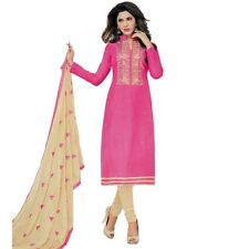 Designer Silk Embroidered Salwar Kameez Suit Dress Ready to Wear-Neckline-1004