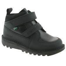 BOYS KICKERS KICK STOMPER BLACK LEATHER TOUCH FASTENER SCHOOL SHOES SIZES 5 - 12