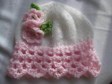 HAND KNITTED BABY HAT WHITE /PINK LACY EDGE FLOWER SIZE 0-24 MTHS NEW