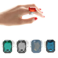 Fashion Huge Faceted Cuboid Diamond Emerald Ruby Sapphire Ring Jewelry 5 Colors