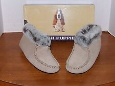 Hush Puppies Harlow Taupe Leather Slippers w/Faux Fur