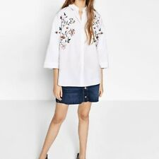 New Womens White Floral Embroidered 3/4 Sleeve Button Down Shirt Blouse Tops