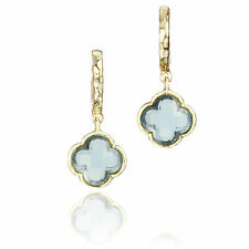 Little Miss Twin Stars 14k Goldplated Colored Glass Clover Hammered Hoop Earring