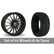 """4 x 15"""" Team Dynamics Jet RS Black Red Alloy Wheel Rims and Tyres -  195/55/15"""
